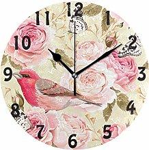 DOSHINE Wall Clock, Floral Flower Rose Bird Silent