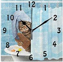 DOSHINE Wall Clock, Funny Cat Taking Bath Silent