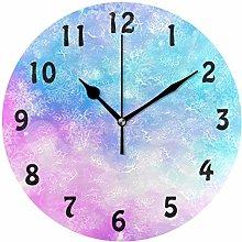 DOSHINE Wall Clock, Galaxy Rainbow Snowflakes
