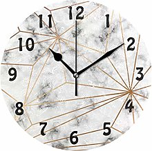 DOSHINE Wall Clock, Marble Golden Geometric
