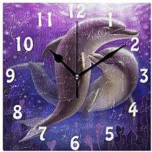DOSHINE Wall Clock, Ocean Sea Animal Dolphin