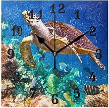 DOSHINE Wall Clock, Ocean Sea Fish Turtle Silent