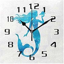 DOSHINE Wall Clock, Ocean Sea Mermaid Pattern