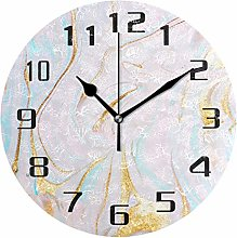DOSHINE Wall Clock, Pastel Marble Pattern Silent