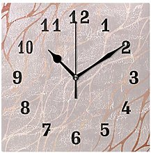 DOSHINE Wall Clock, Rose Gold Marble Pattern