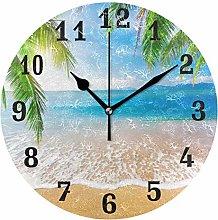 DOSHINE Wall Clock, Tropical Ocean Sea Beach Palm