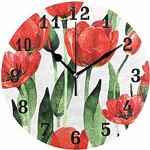 DOSHINE Wall Clock, Watercolor Floral Flower Poppy