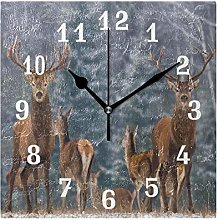 DOSHINE Wall Clock, Winter Wildlife Landscape With