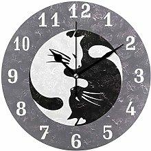 DOSHINE Wall Clock, Yin Yang Tai Chi Cat Animal