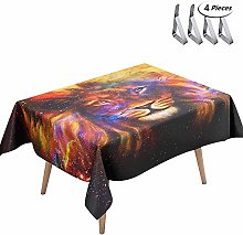 DOTBUY Tablecloth Waterproof, 3D Lion Printed