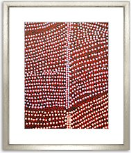 Dots Wood Framed Print & Mount, 73 x 58cm, Red
