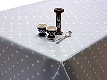 Dotty Grey/Blue Oilcloth Wipeclean Tablecloth
