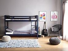 Double Bank Bed Dark Blue Pine Wood EU Single Size 3ft High Sleeper Children Kids Bedroom