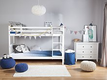 Double Bank Bed White Pine Wood EU Single Size 3ft High Sleeper Children Kids Bedroom