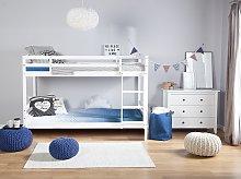 Double Bank Bed White Pine Wood EU Single Size 3ft