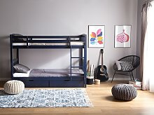 Double Bank Bed with Storage Drawers Blue Pine