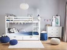 Double Bank Bed with Storage Drawers White Pine