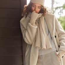 Double-Breasted Teddy Coat, Ivory, Large