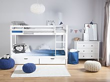 Double Bunk Bed with Drawers White Pine Wood EU Single Size 3ft High Sleeper Children Kids Bedroom