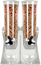 Double Cereal and Dry Food Dispenser with Built in