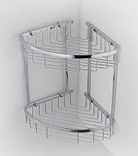 Double Corner Wire Shower Caddy Shelf Basket Rack