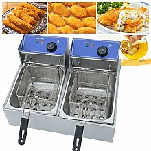 Double Cylinder Electric Fryer Stainless Steel
