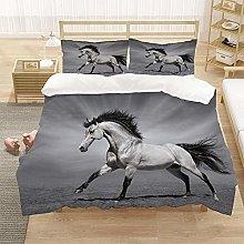 Double Duvet Cover Set Grey animal horse 3D Print