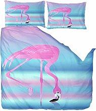 Double Duvet Covers Set,Animal Pink Flamingo