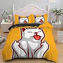 Double Duvet Set Yellow animal animation, Bedding