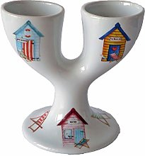 Double Egg Cup with Colourful Beach hut Design