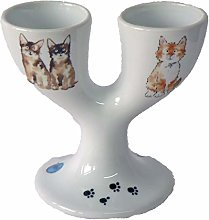 Double Egg Cup with Cute Cats and Kittens Design