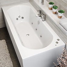 Double End Curved Whirlpool Bath - 10 Jets &