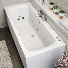 Double End Square Whirlpool Bath - 10 Jets &