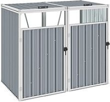 Double Garbage Bin Shed Grey 143x81x121 cm Steel