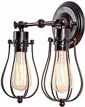 Double-Head Wall Light Vintage Adjustable Cage