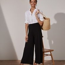 Double-Jersey Pull-On Crop Trousers , Black, 6
