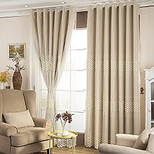 Double Layer Beige Blackout Curtains,with White
