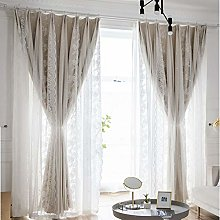 Double Layer Blackout Curtain Tulle Overlay for