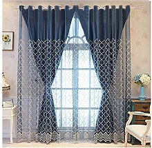 Double Layer Blue Blackout Curtains,with Sheer