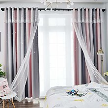 Double-Layer Window Blackout Tulle Curtain for