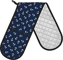 Double Oven Gloves Navy Blue Anchor Double Oven