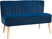 Double Seat Sofa w/ Wood Frame Foam Padding High