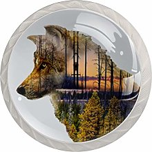 Double Shadow of Wolf and Forest Kitchen Cabinet