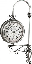 Double-sided wall clock station type in iron with