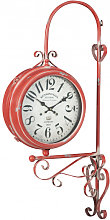 Double-sided wall clock station type iron finish