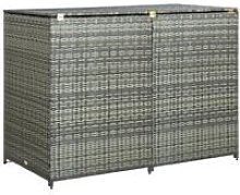 Double Wheelie Bin Shed Poly Rattan Anthracite
