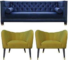 Downey 3 Piece Sofa Set BelleFierté Upholstery