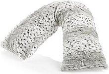 Downland Everyday Snow Leopard Print V-Shaped Faux Fur Pillow