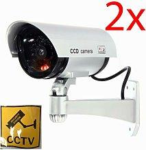 Dp - 2 X Fake Dummy Cctv Security Camera Flashing