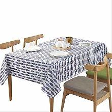 DQGZYF Blue Fish Pattern Thick Linen Cotton